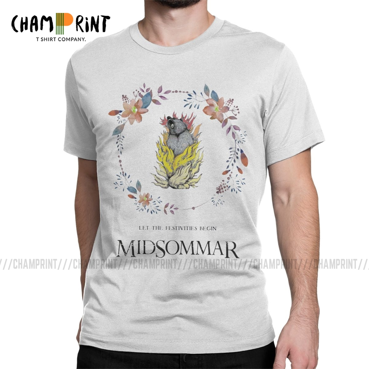 Humorous Midsommar Floral Bear T-Shirts For Men Crewneck Pure Cotton T Shirt Short Sleeve Tees Gift Idea Clothing