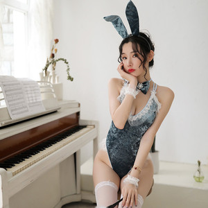 Image 5 - 3 farben Bunny Mädchen Sexy Dessous Cosplay Uniform Samt Spitze Kaninchen Ohr Outfit 5PCS Party Roleplay Body Frauen Clubwear