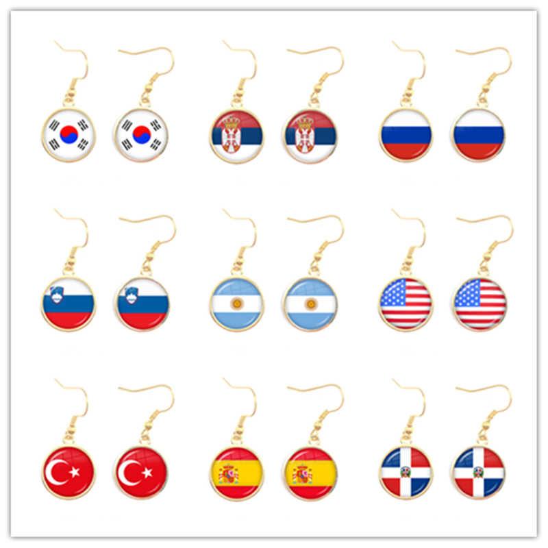 National Flag Drop ต่างหูเกาหลี,เซอร์เบีย,รัสเซีย,สโลวีเนีย,อาร์เจนตินา,สหรัฐอเมริกา,ตุรกี, สเปน,โดมินิกาเครื่องประดับสำหรับผู้หญิงหญิง