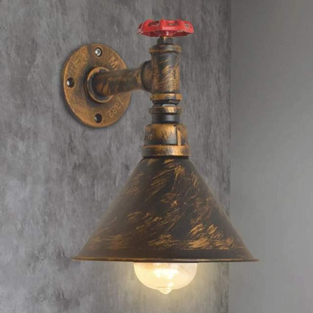 6 tipos 110-220v vapor Punk Loft Industrial hierro óxido tubería de agua Retro lámparas de pared Vintage E27 LED luces de pared para la barra del hogar