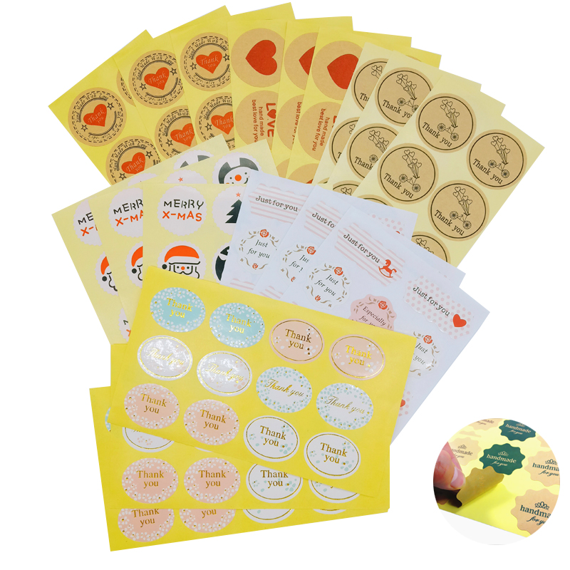 120pcs Kraft Paper Thank You Stickers Label Heart Shape /& Round Adhesive Labels
