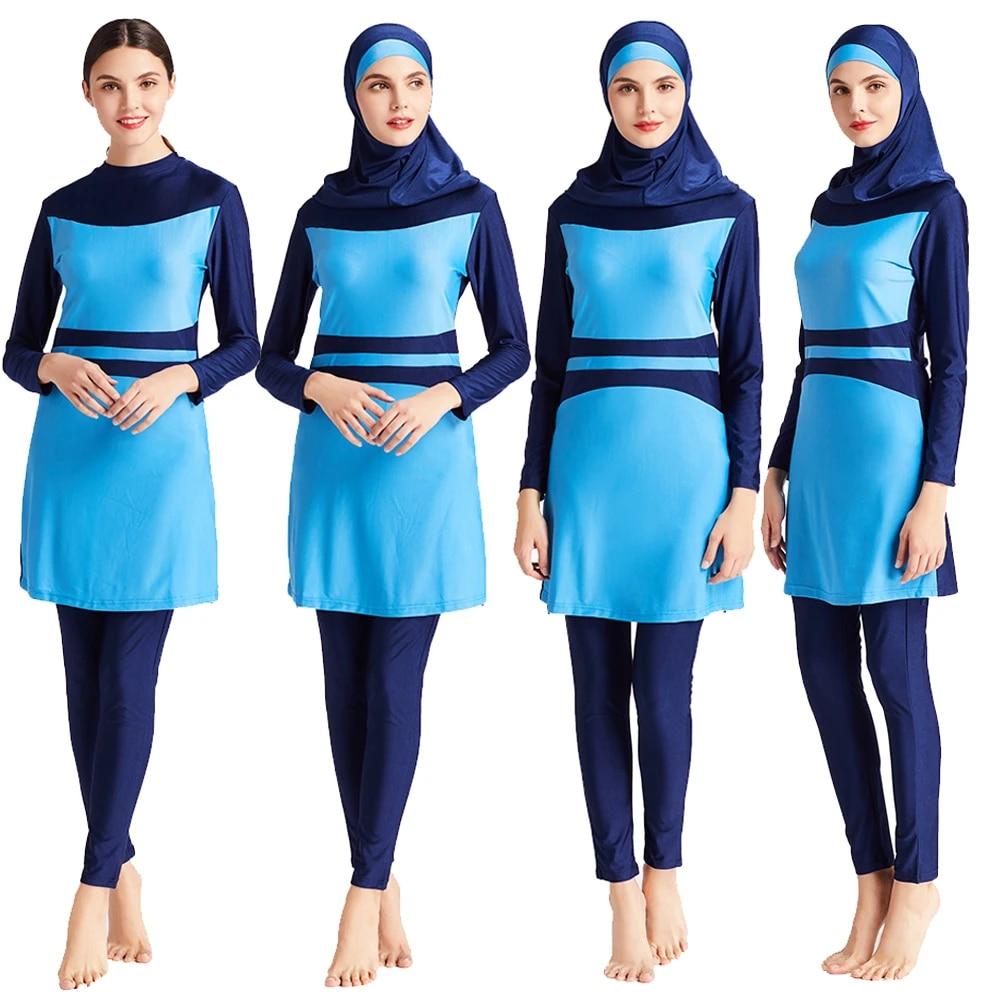 Women Islamic Muslim Swim Costume Modest Swimwear Beachwear Burkini Swimsuit