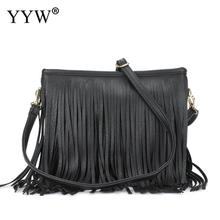 Black Crossbody Shoulder Bag Tassel Womens Purse Women'S Pu Leather Hobo Fringe Crossbody Tassel Purse Vintage Small Handbag