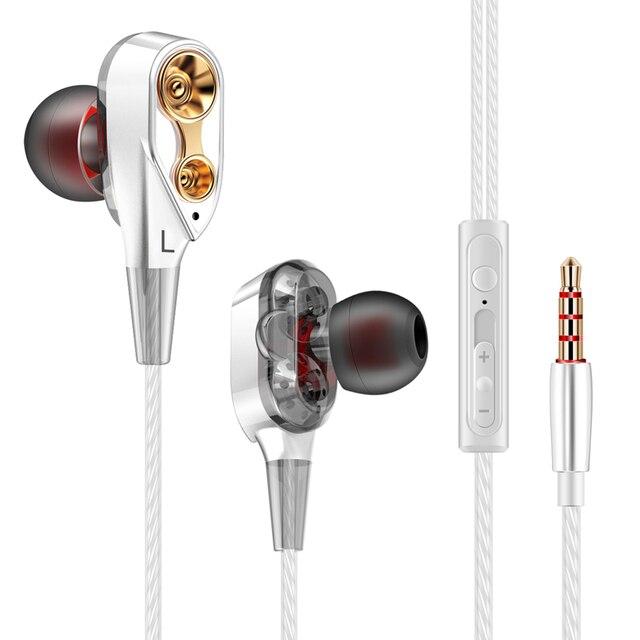 QKZ HiFi Wired Earphone Dual-Dynamic Quad-core Speaker 3.5mm In-Ear earphones TH