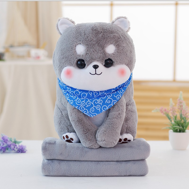 PUNIDAMAN Cute Cartoon Stuffed Animals Shiba Inu With Blanket Inside Plush Toy Dog Soft Pillow Christmas Gift For Kids