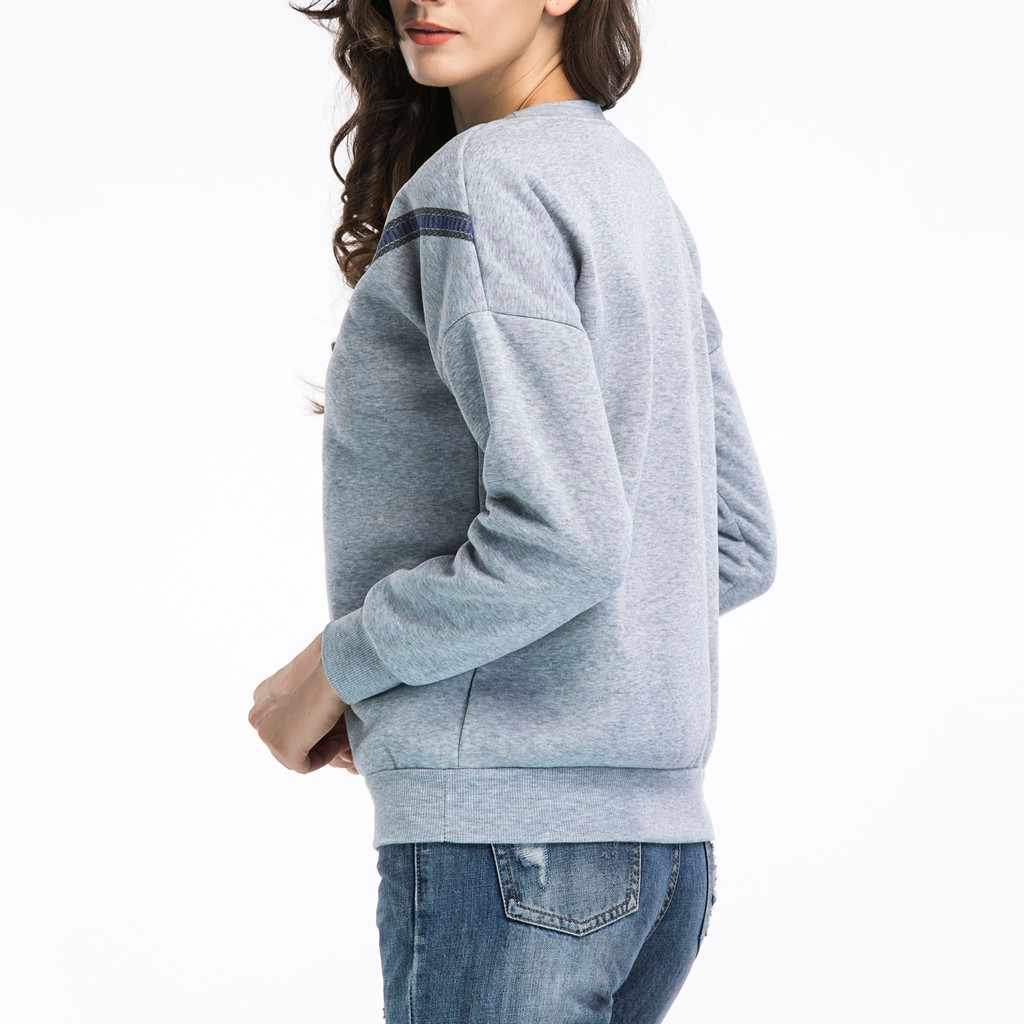 New women fashion tops and blouses Women Casual Printed Bow Long Sleeve Loose Pullover Sweatshirt Tops Blouse Casual style#8
