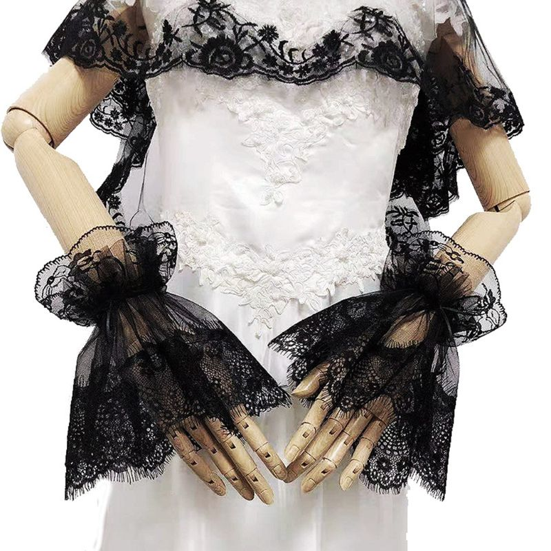 Black Glove Paragraph Fashion Pattern Bridal Wedding Gloves Lace Elegant E15E