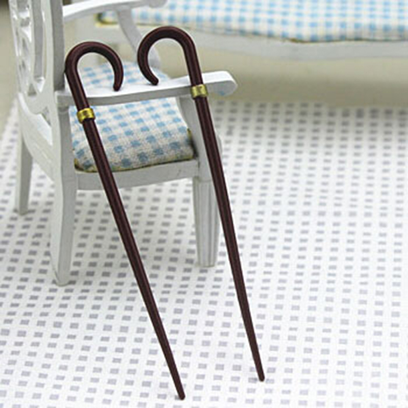 New Simulation Vintage Gentleman Walking Stick Crutch Model Toy For Doll House Decoration 1/12 Dollhouse Miniature Accessories