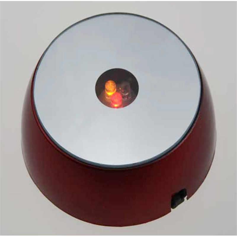 LED צבעוני/לבן בסיס אור לייזר מסתובב חשמלי תצוגת גביש בסיס Stand מחזיק עם זכוכית שקוף חפצים