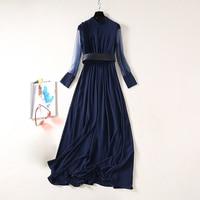 HIGH QUALITY NewFashion 2020 Runway Dress Women's Long Sleeve Gauze Patchwork Long Dress