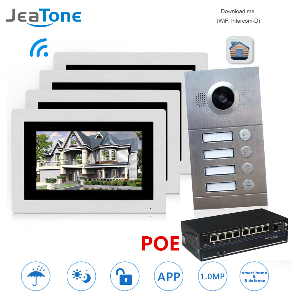 WIFI IP Video Door Phone Intercom System Video Doorbell 7'' Touch Screen For 4 Floors Apartment/8 Zone Alarm With POE Switch