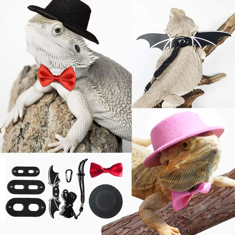 Lizard Traction Rope Hat Bow Tie Soft Leather Reptile Bearded Dragon Harness Leash