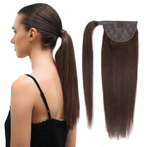 BHF 100% Human Hair Ponytail Brazilian Machine Remy Ponytail Wrap Around Horsetail wig 120g Hairpieces Natural Straight Tails