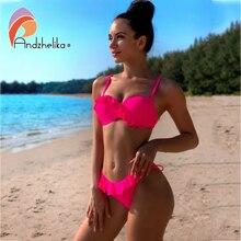Andzhelika Bikini Bandeau con volantes y realce para mujer, traje de baño de dos piezas con volantes, estilo Sexy, traje de baño de playa de verano, 2020