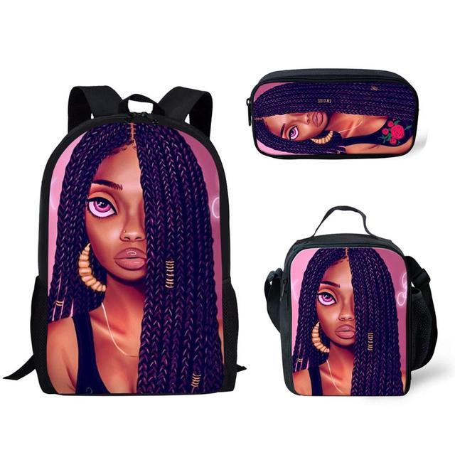 3pcs/set African American Black Girl wit braids School Bag