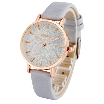 Bracelet Grey Leather Strap Analog Quartz Watch Women Clock Concise White Dial Watches for Ladies Bangle Relogio Feminino 1 pair couple lover watches quartz dial clock pu leather wristwatch relojes watch women men fashion luxury relogio feminino saat
