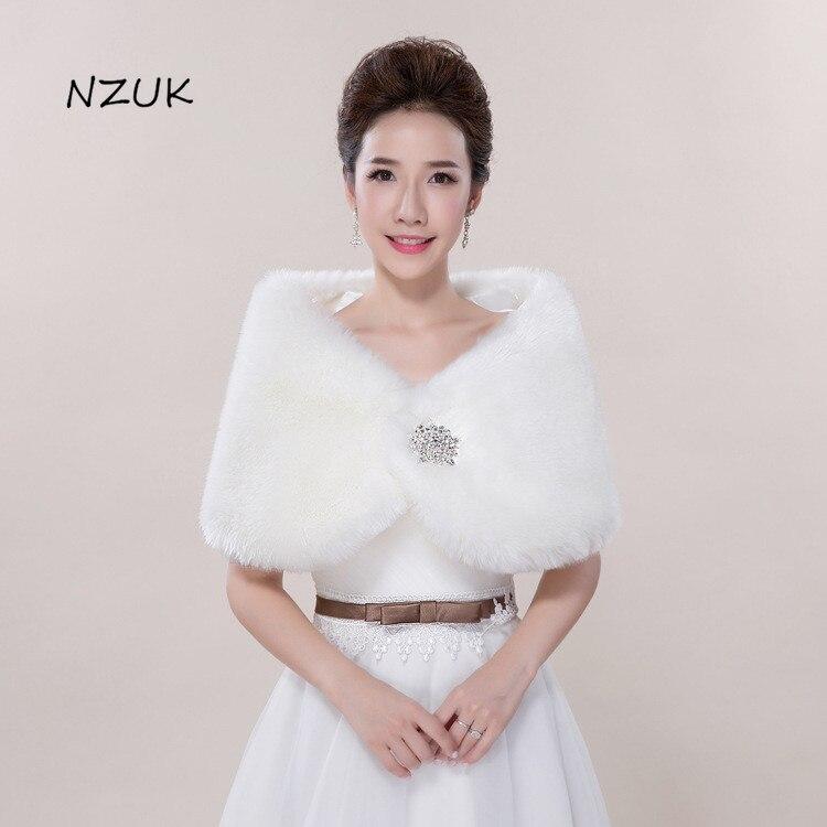 Bridal Jackets Shawl Wedding Bride'S Autumn Winter Fur Shawl Thickened Bolero Wraps Warm Cloak PJ030