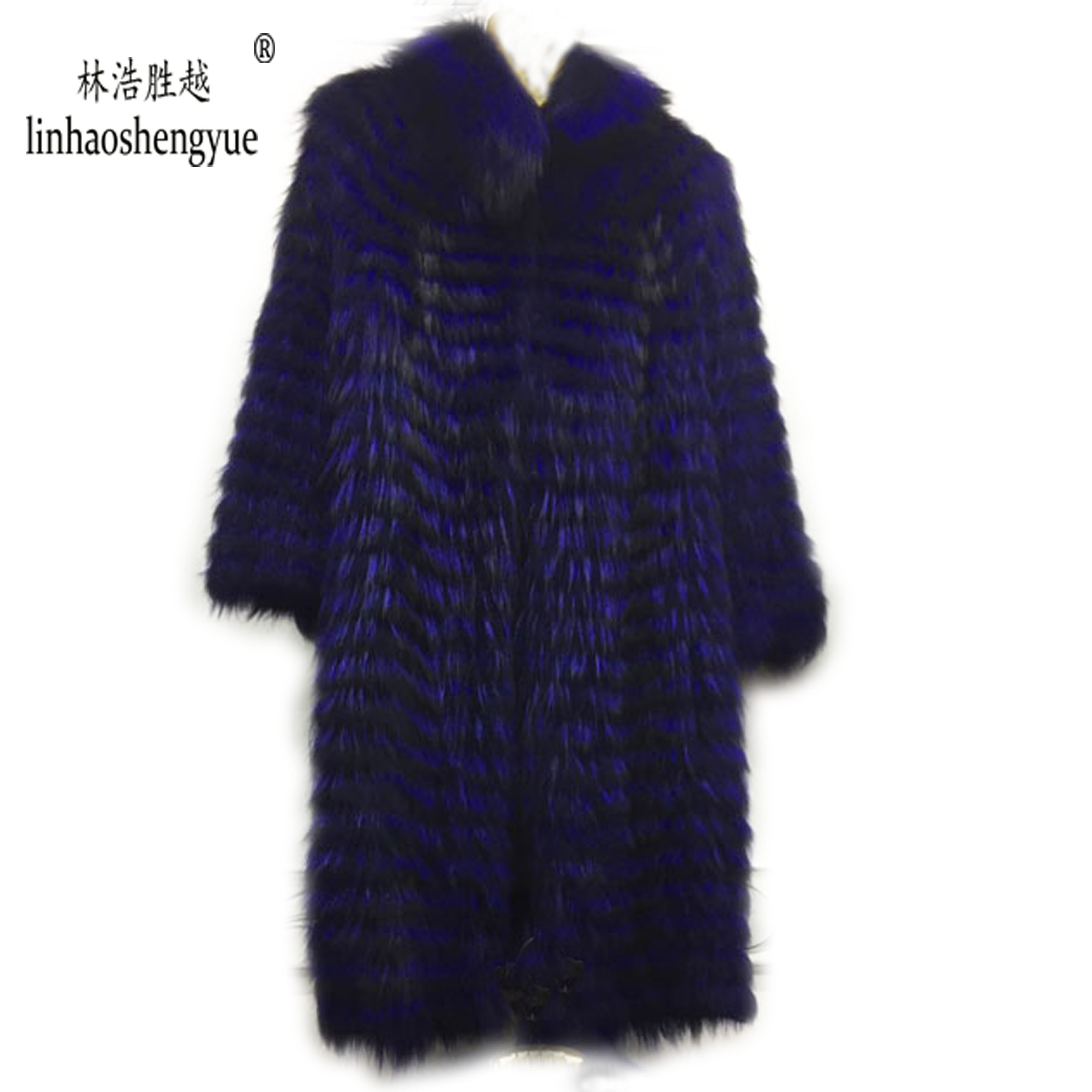 Image 4 - Linhaoshengyue  90cm long real Silver fox red  fox nature fur coat   Wool  knit liner,stylish stand collarReal Fur   -