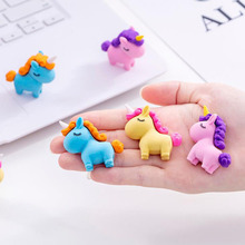 3 Pcs/set Cartoon Fat Unicorn Eraser Colored Animal Rubber Pencil Erasers Primary Student Prizes Promotional Gift Stationery