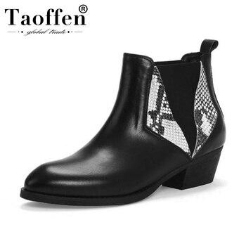 Taoffen Women Genuine Leather Snakeskin Pattern Ankle Boots Winter Warm Work Office Woman Short Boots Footwear Size 33-44