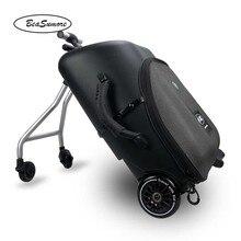 Beasumore originalidade scooter rolando bagagem crianças podem montar mala rodas 20 polegada estudante multi função carry ons trole