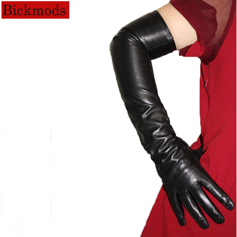 Long Leather Gloves Female Touch Screen Black Sheepskin Over Elbow Long Gloves Velvet Lining Winter Warm Free Shipping