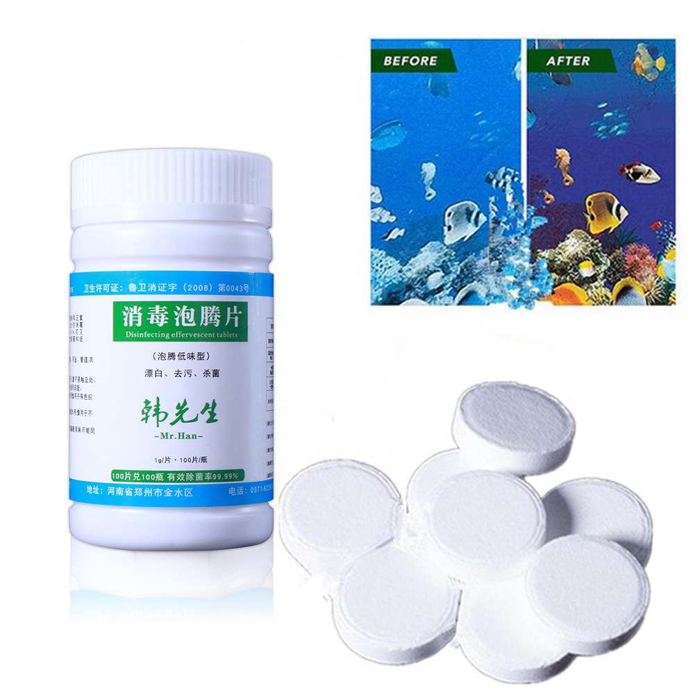 100Pcs Tablets Disinfection Pills Swimming Pool Chlorine Tablets Instant Effervescent Pipes Cleaning Water Home Use Disinfection