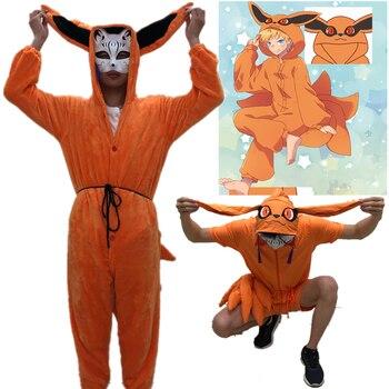 Naruto Uzumaki Naruto Cosplay Kigurumi Costumes Kurama Summer Pajamas Kyuubi Tail Jumpsuits Sleepwear Flannel Winter Pyjamas