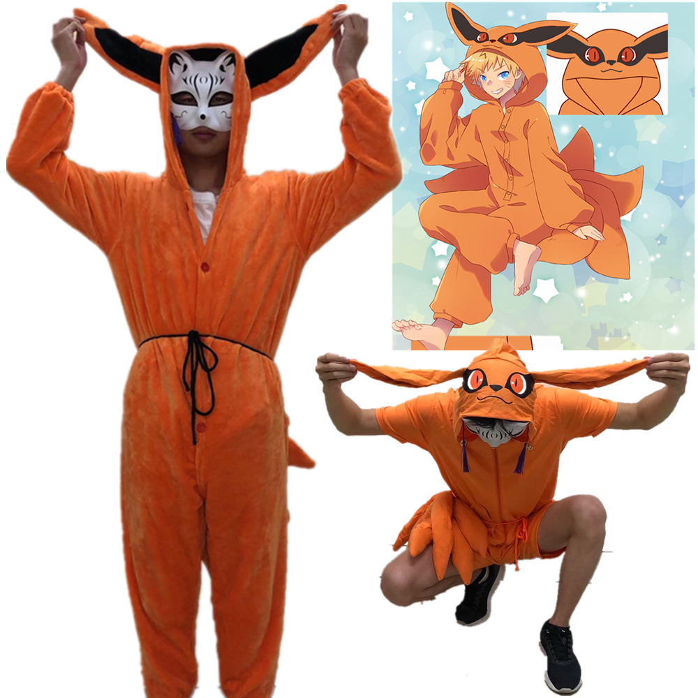 Naruto Uzumaki Naruto Cosplay Kigurumi Costumes Kurama Summer Pajamas kyuubi  Tail Jumpsuits