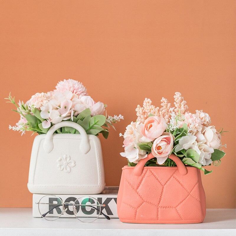 Ceramic Vase Home Decor Vases Nordic Home Decoration Flower Pot Handbag Wide Mouth Living Room Flower Arrangement Simple Style Just6F