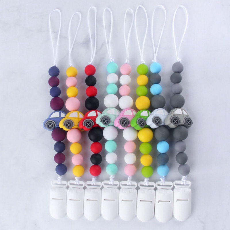 Baby Pacifier Chain Silicone Beads Cute Cartoon Car Charms Wood Silicone Molar Teether Toy Pacifier Anti-Lost Chain Holder Clip