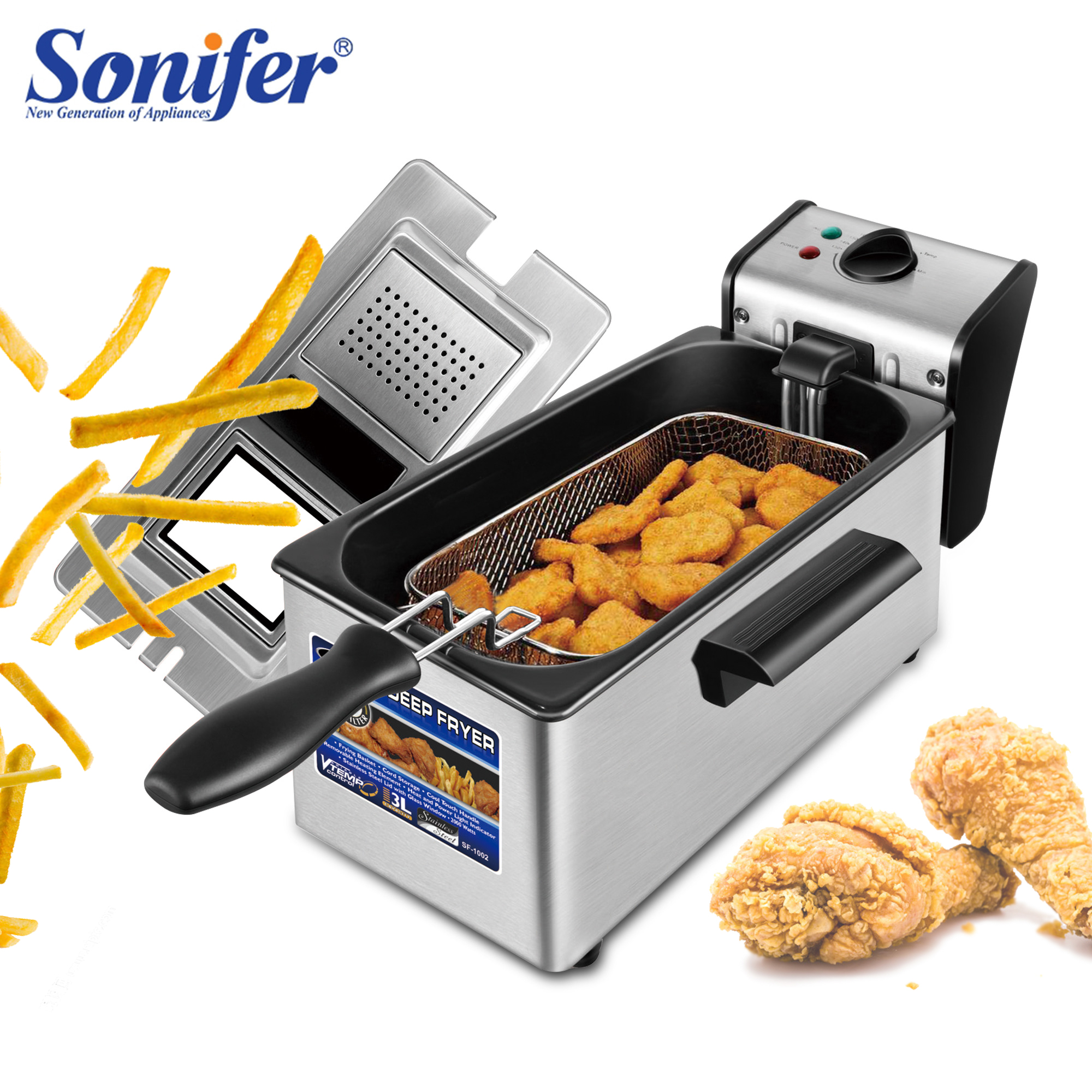 Electric Deep Fryer 3L French Frie Frying Machine Oven Hot Pot Fried Chicken Grill Adjustable Thermostat Kitchen Cooking Sonifer 1