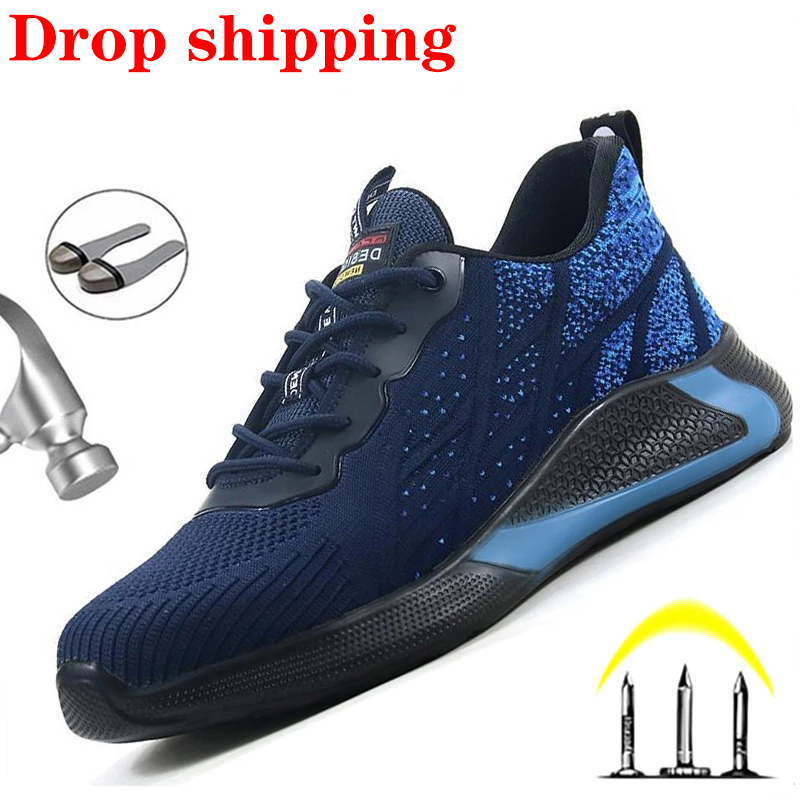 2020 Fashion Steel Toe Shoes Work Safety Shoes Men Work Sneakers Men Boots Anti Smashing Construction Industrial Shoes Work