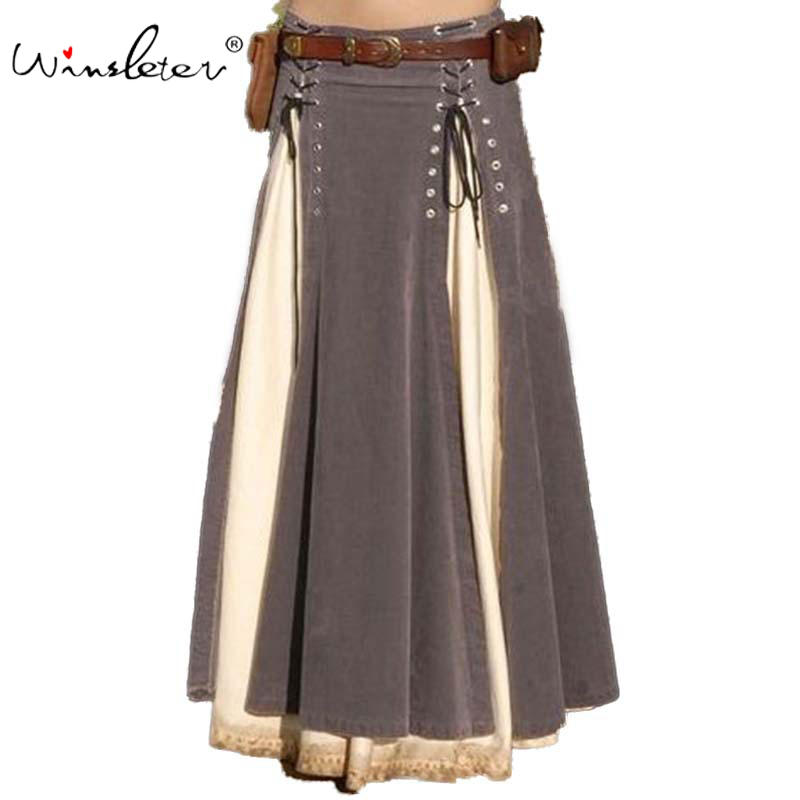 Spring 2020 Vintage Ethnic Skirt Women Folk Patchwork Lace Up A-line Long Skirt Maxi Empire High Waist Plus Size S-5XL B01802W