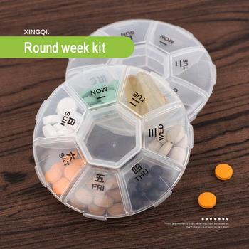 Mini przenośne plastikowe opakowanie na leki różne gniazda rozróżniają różne pojemniki na leki pojemnik na witaminy pudełeczko na lekarstwa tanie i dobre opinie CN (pochodzenie) JE232694 Z tworzywa sztucznego Ekologiczne 5-8 sztuk cukierków alps Nowoczesne ROUND Zestaw medyczny 9*9*2cm