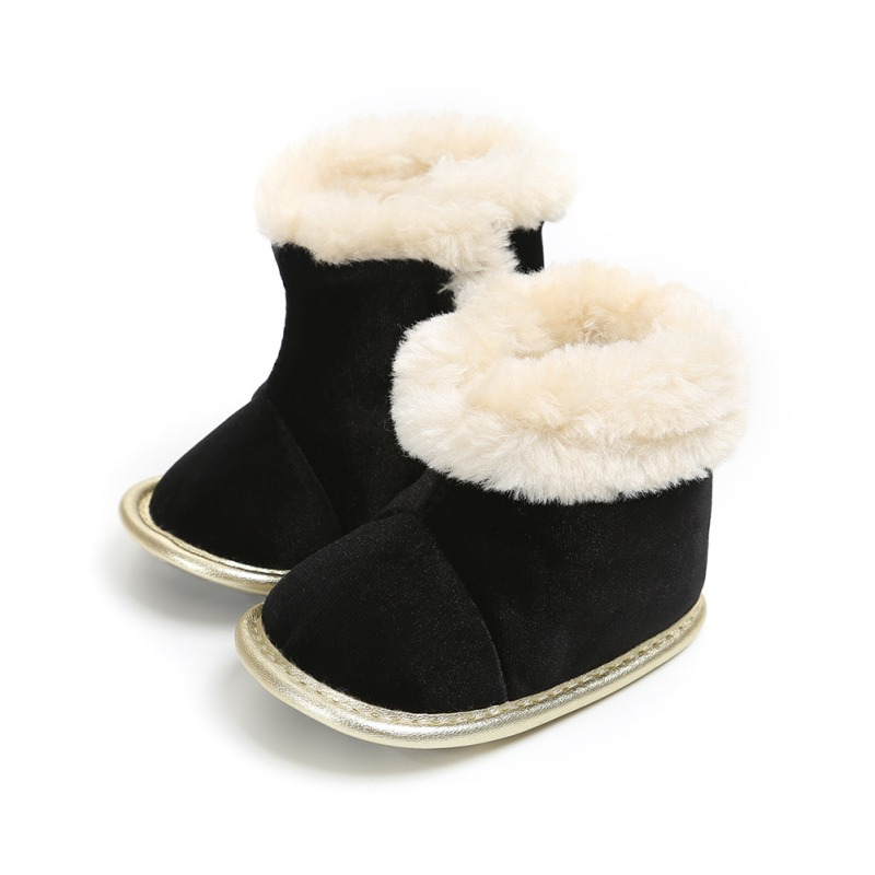 Winter Baby Bootsborn Solid Color Plus Velvet Warm Boots Baby Soft Bottom Non-Slip Toddler Boots