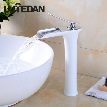 Lutedan High-Style Waterfull Basin Sink Faucets Hot and  Cold Water Mixer Faucet Deck Mounted Single Hole Mixer Tap free shipping newly deck mounted dual handles hot and cold control water faucet bathtub basin mixer tap home improvement gi729