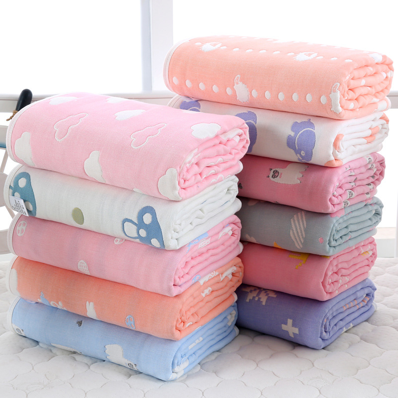 Six-layer Gauze Pure Cotton No Fluorescence Bath Towel Infants Gro-bag Children Blanket Baby Large Bath Towel Comforter
