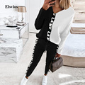 Fashion Patchwork Letter Print Tracksuit Women Two Piece Set Casual V-Neck Pullover Tops And Long Pant Suits Spring Loose Outfit