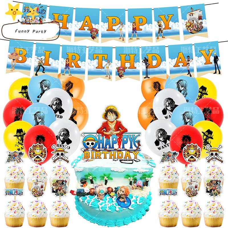 Вечерние воздушные шары для детей с днем рождения, баннеры с изображением героя аниме, одна тема, фигурки для кексов с палочками