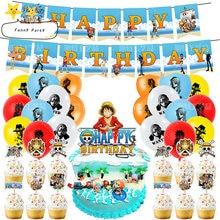 Feliz aniversário festa crianças favores decoração do chuveiro do bebê balões banners herói anime tema uma peça cupcake toppers com varas