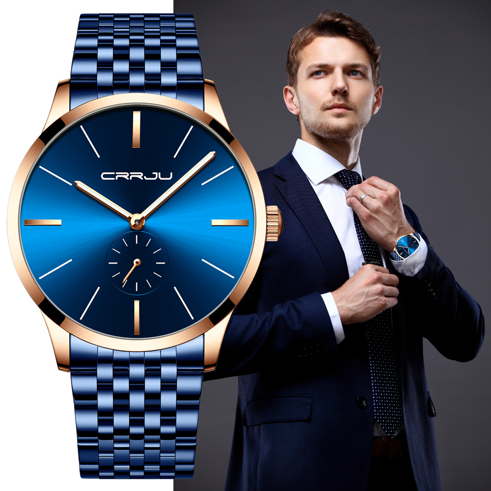 Mens Watches Top Luxury Brand CRRJU Fashion Analogue Clock Bussiness Stainless Steel Waterproof Luminous Watch Relogio Masculino