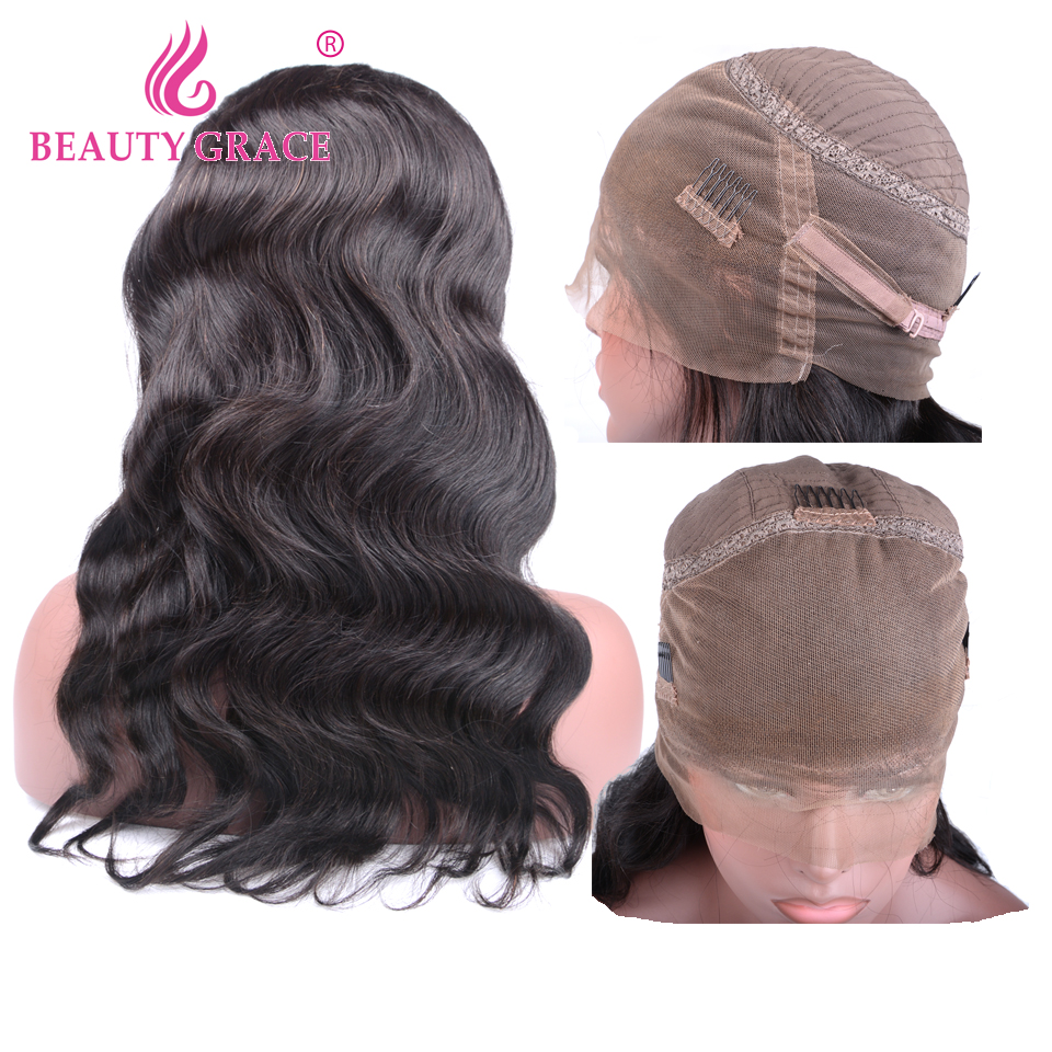 Body Wave 360 Lace Frontal Wig Peruvian Hair Pre Plucked With Baby Hair Non Remy Lace Frontal Human Hair Wigs For Black Women