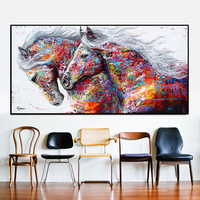 100% Hand Painted Abstract Horse Art Oil Painting On Canvas Wall Art Frameless Picture Decoration For Live Room Home Decor Gift
