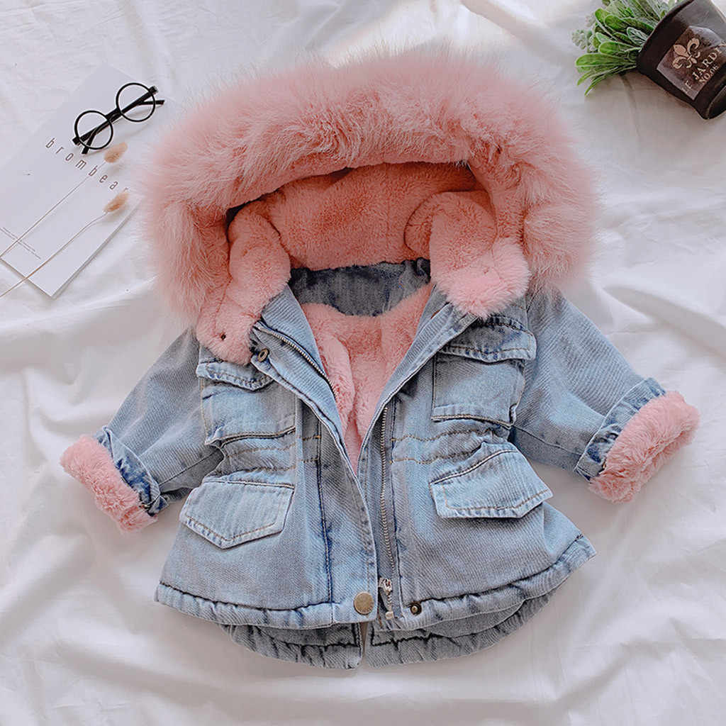 Boutique 2019 Winter Baby Girl Denim Jacket Plus Velvet Real Fur Warm Toddler Girl Outerwear Coat 4 Years Kids Infant Girl Parka