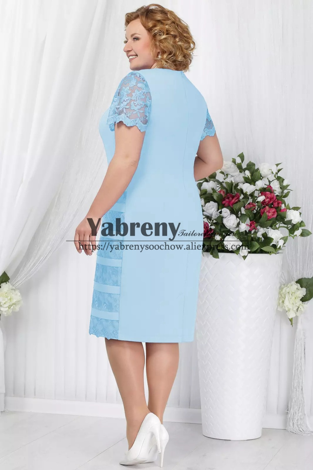 Plus size Mother of the bride dress with lace coat blue