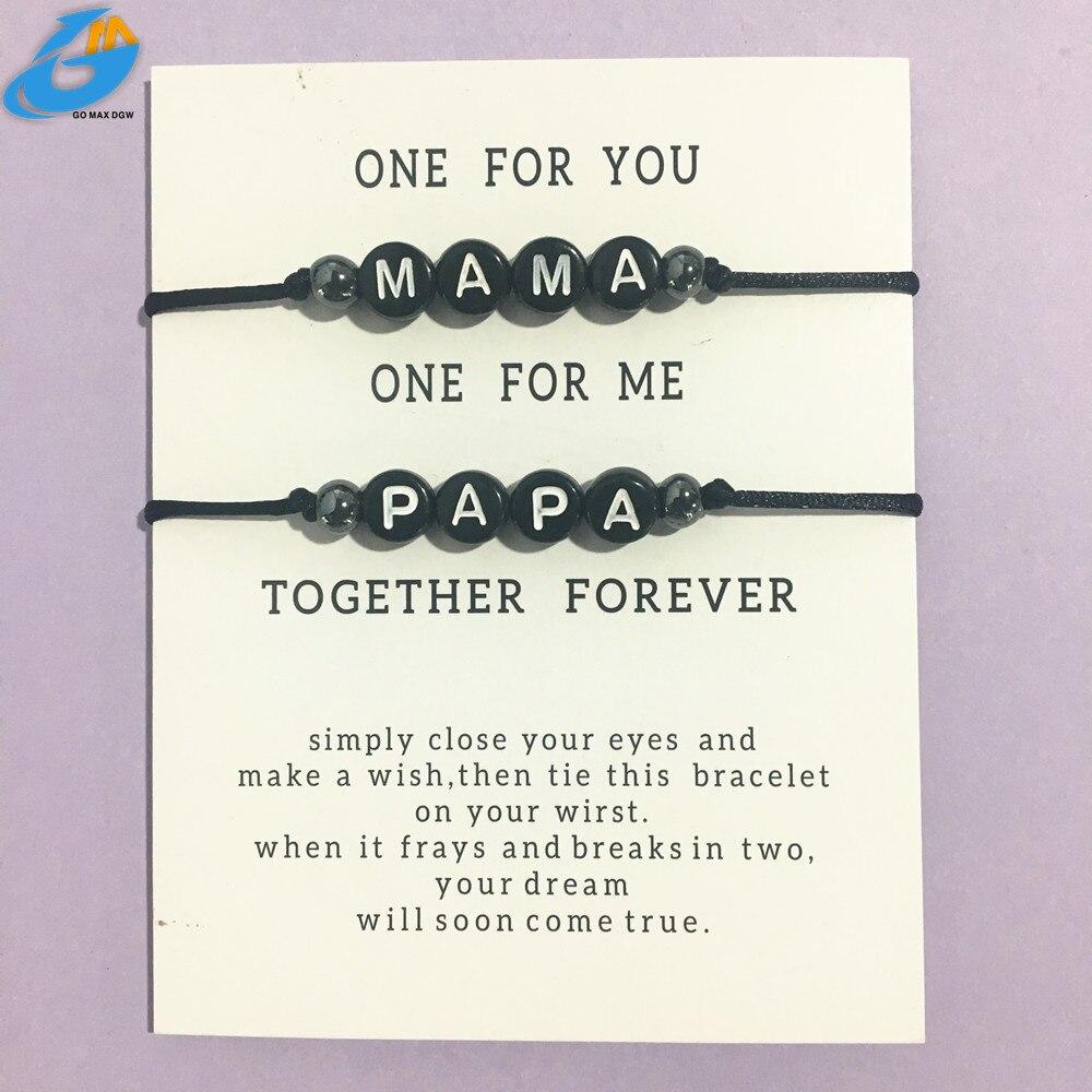 2020 новая пара бусина буква MaMa и PaPa браслет для мужчин и женщин Веревка регулируемая строка имя браслеты DIY ювелирные изделия для семьи