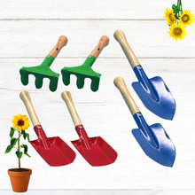 6 sztuk dzieci narzędzie ogrodowe żelaza łopata kielnia prowizji z drewnianą rączką dla dzieci dziecko dziewczynka tanie tanio WINOMO NONE CN (pochodzenie)