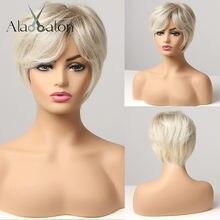ALAN EATON – perruque synthétique courte, lisse, bouffante, naturelle, avec frange, brun, blond platine, gris, blanc cendré, pour femmes