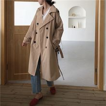 2019 Autumn Korean Retro Loose Trench Lapel Women Khaki Trench